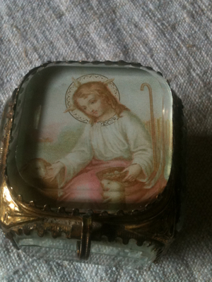 Glass Relic Holder with Angel
