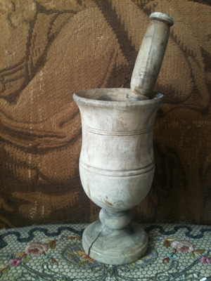 French Antique Mortar and Pedestal French Antique