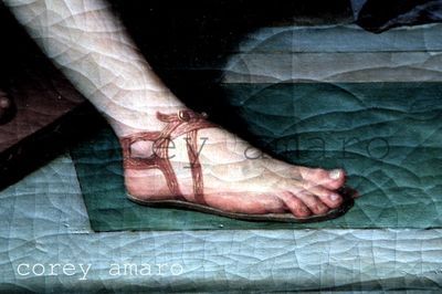 Painting of a foot in a sandal