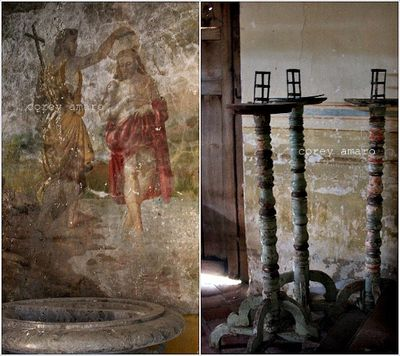 Antique candlesticks and mural, mexico, church