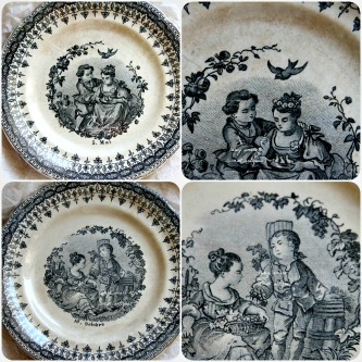 French Dishes Black Transferware
