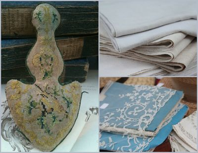 French Antique Textile Collage