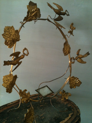 French Antique Marriage Crown Holder