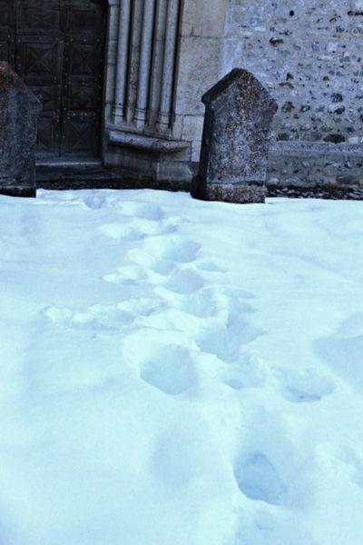 Snow covered church yard