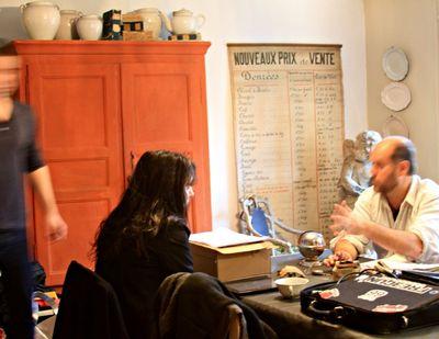 Film crew in the kitchen