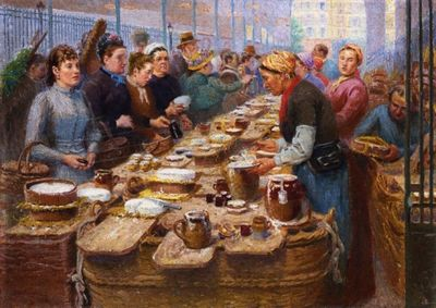 Edouard-Jean-Dambourgez-xx-Cream-and-Cheese-Merchants-of-Les-Halles-xx-Private-Collection
