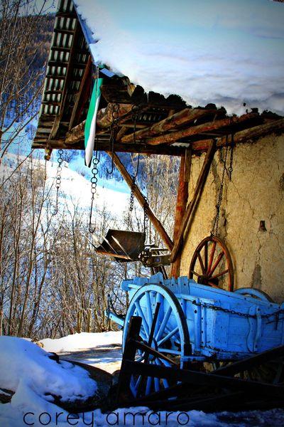 French Alps blue wagon