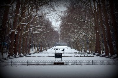 Playground in Paris, snow covered, by Chelsea