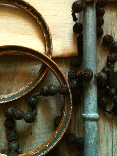 French Brocante, rosary beads and frames