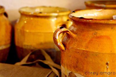 Confit pots, provence, france, yellow confit pots