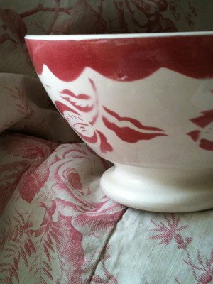 French Antique Cafe Bowl Floral