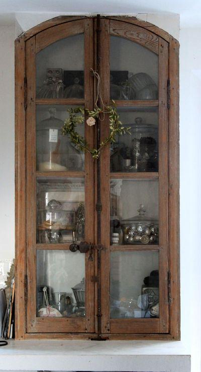Ma maison window frames used as cupboard doors