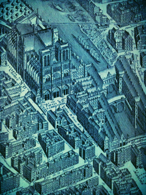 Old Paris Map used as wallpaper