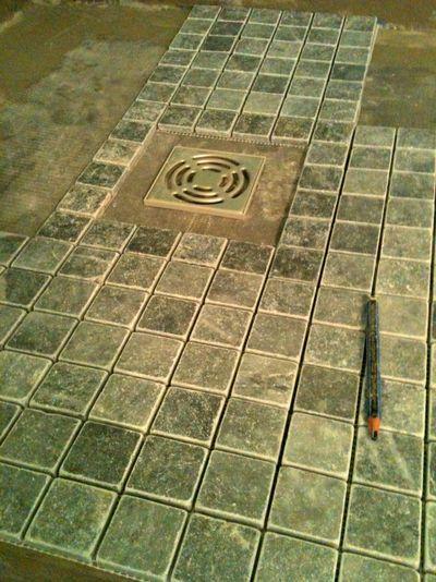 Grey marble tiles, France, shower base