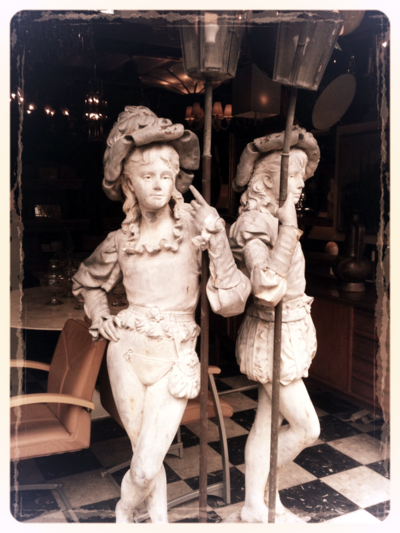 French metal statues lamp holders