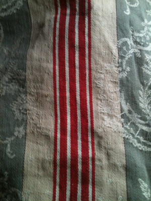 French 1900s  grey and red Matlas Fabric