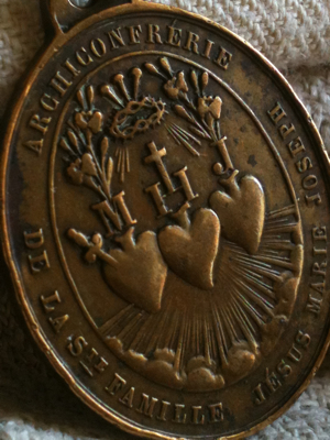 French Antique Sacred Family Heart Medal