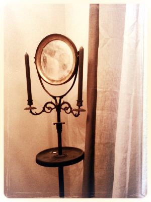 French Antique Barber Mirror stand