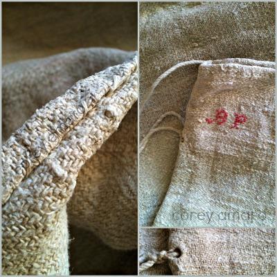 French antique grain sacks, linen