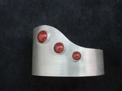 Sterling Cuff with Red Jasper stones