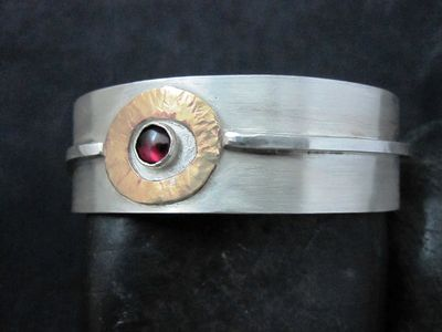 Sterling Cuff with Brass accent and Garnet stone