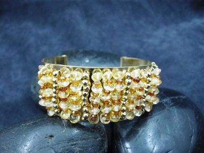 Brass Cuff woven with Citrine and Gold beads