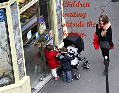 Children waiting outside the bakery