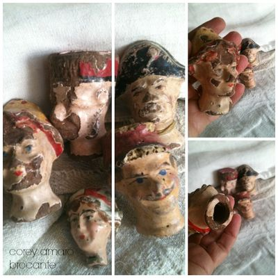 Brocante, french brocante, corey amaro antiques, puppet heads