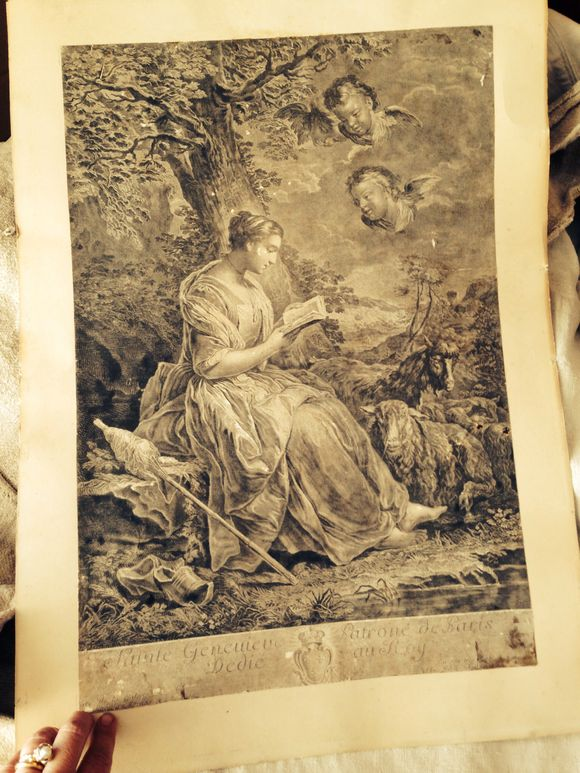 French Antique Engraving: Patron Saint of Paris