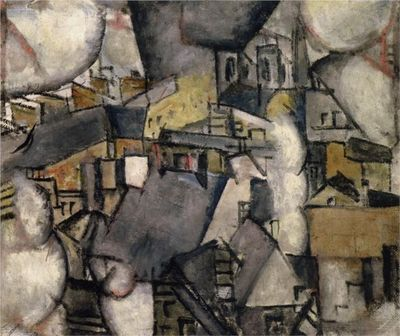 1911 Chimneys on rooftops oil on canvas 46 x 55 cm