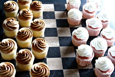 Cupcakes on checkerboard