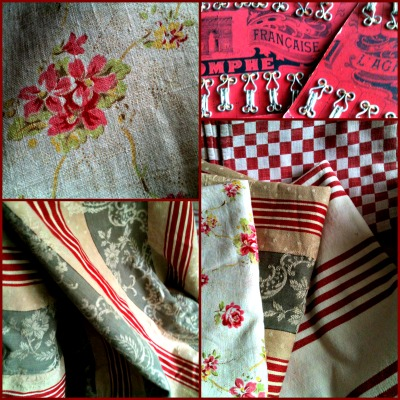 French antique textiles, red ticking