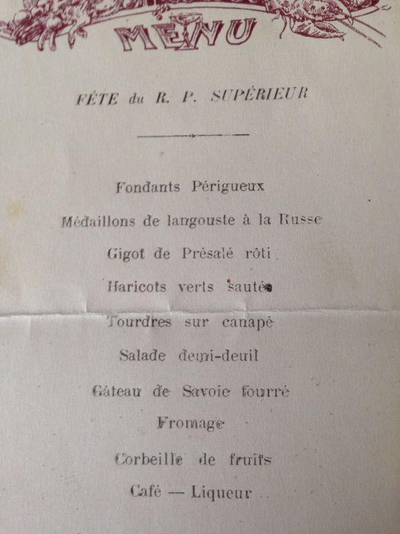 Set of Four French Menus