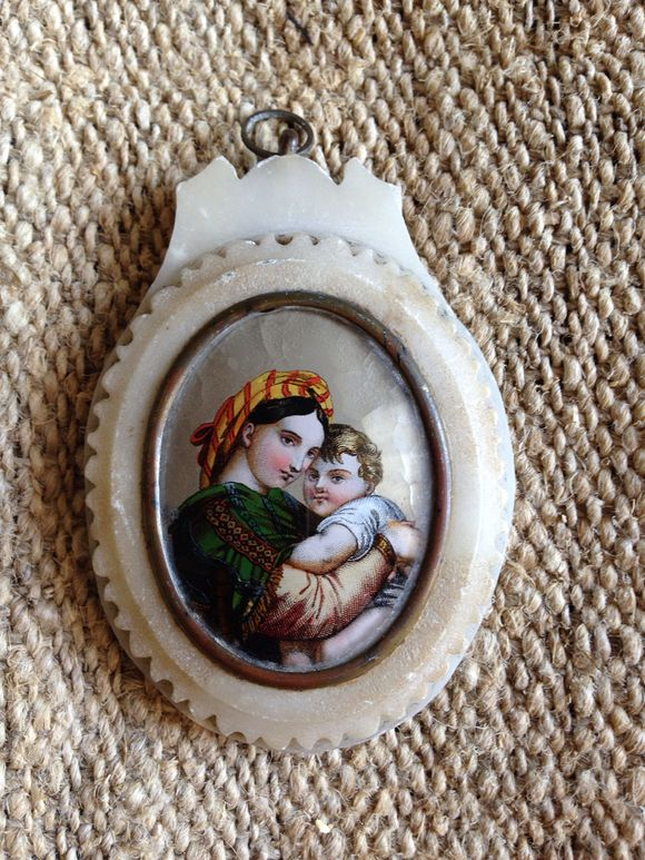 Mother and Child Painted on Glass