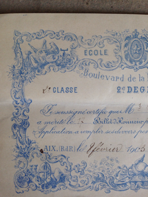 1903 French Student Award