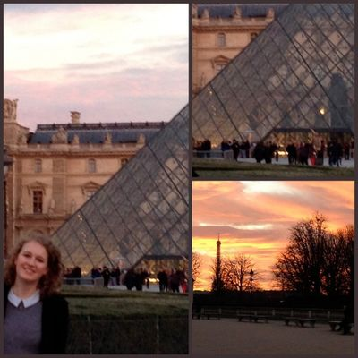 In front of the louvre