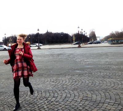 Running across the place de la concorde in paris 2014