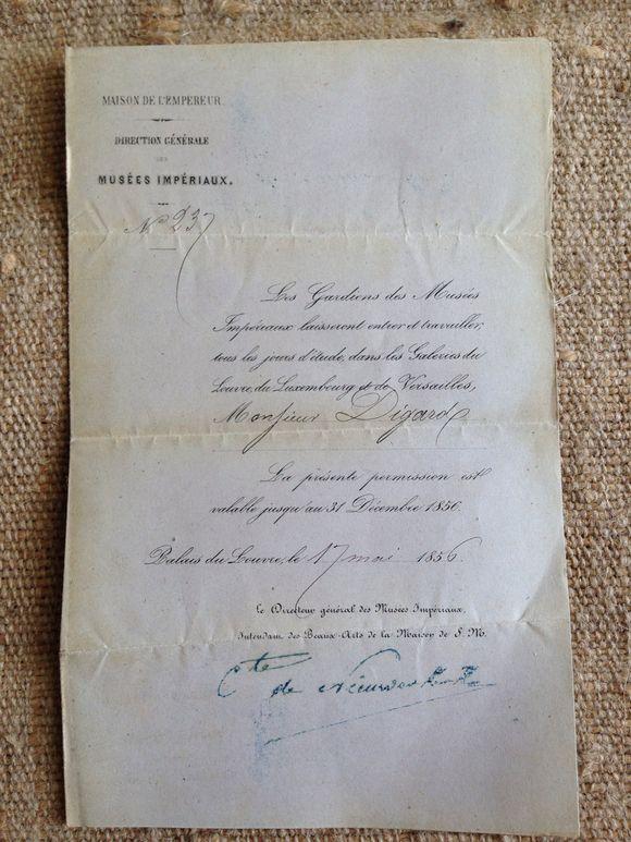 1856 Invitation palais du Louvre