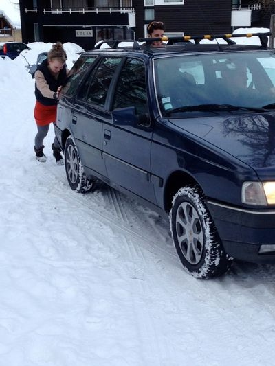 Push car in the Alps