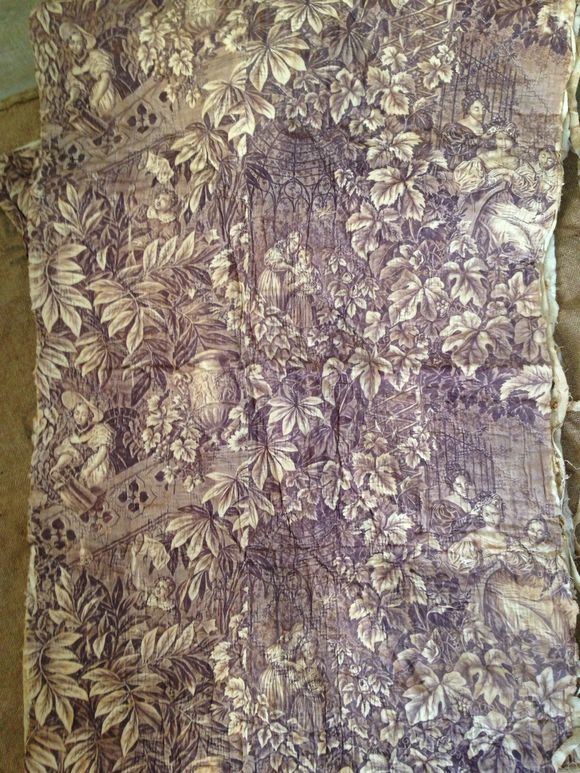 tongue in cheek antiques 1800 mauve toile de jouy boutis fragment sold. Black Bedroom Furniture Sets. Home Design Ideas