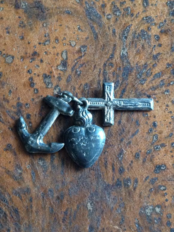 French Brocante Puff Heart Medal with Anchor