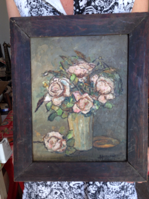 French Painting Roses in a Vase