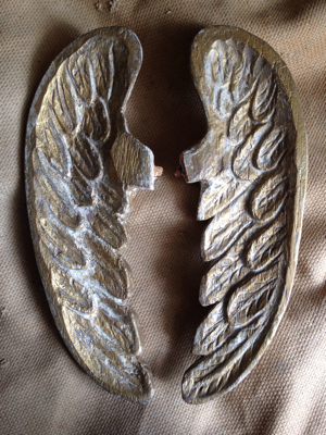 French Antique Gilded Wooden Angel Wings