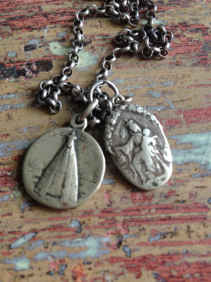 French Antique Silver Chain with Prayer Worn Medals