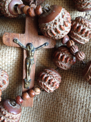 French Antique Long Wooden Rosary