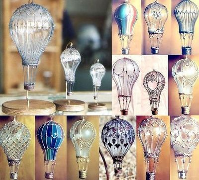 Light bulb hot air ballons