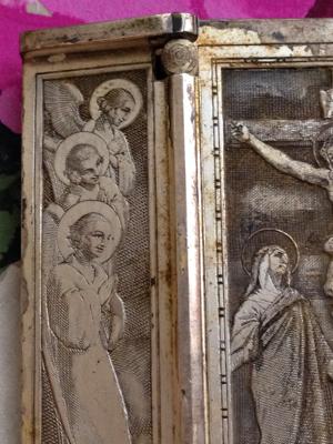 French Brocante Religious Silver Engraving
