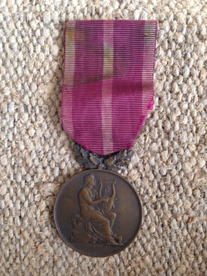 French Antique Purple Ribbon Musical Award Medal