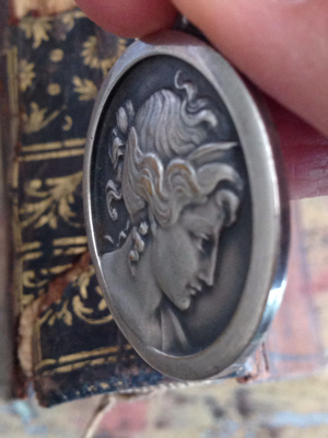 French Antique Medal: Woman's Face