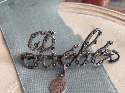 French Antique Medal: Bebe Pin